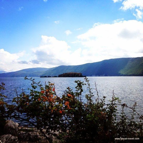 maligrad island on prespa lake albania balkan