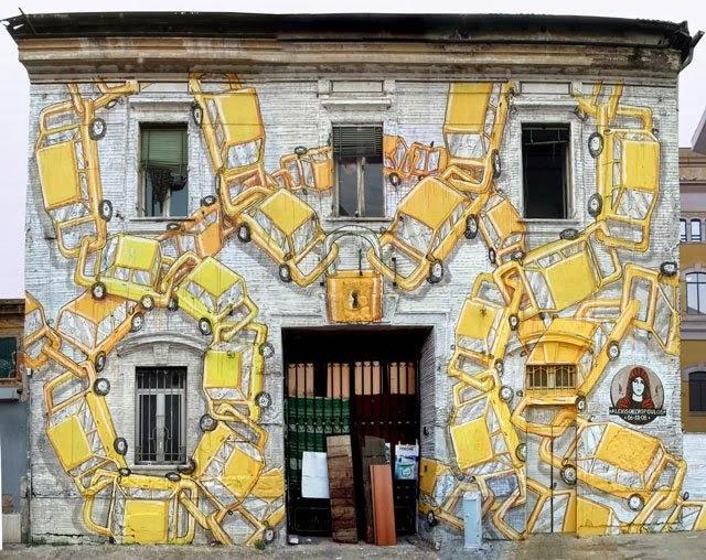 BLU graffiti street art rome ostiense porto fluviale alexis