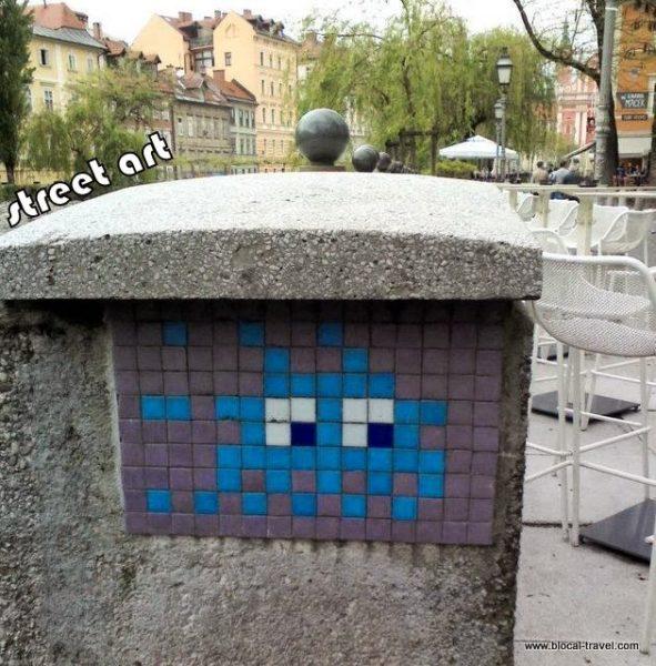 space invader street art ljubljana, slovenia