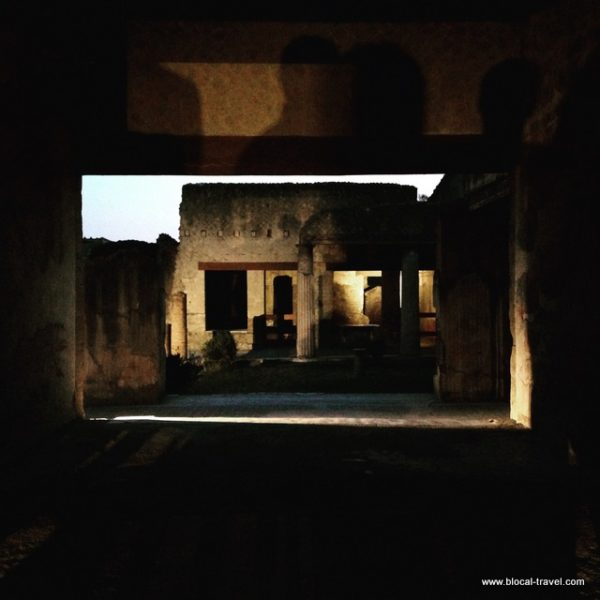 Herculaneum archaeological site by night, Italy