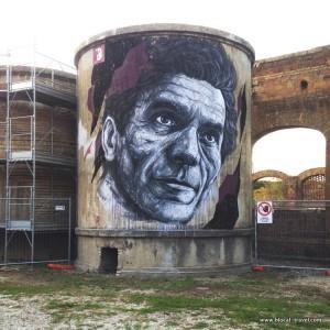 street art Pasolini Roma teatro india Frederico Draw