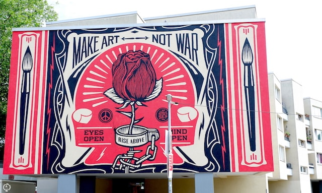 Shepard Fairey street art in Berlin