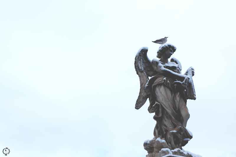snow in Rome 2018 angel statue
