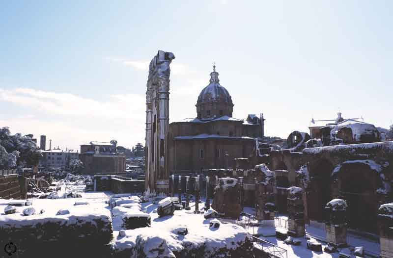 snow in Rome 2018 fori romani