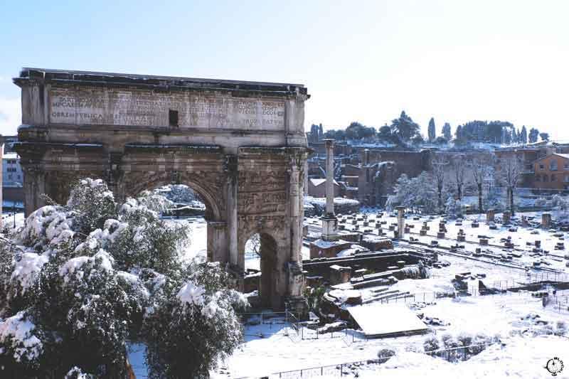 snow in Rome 2018 roman forum