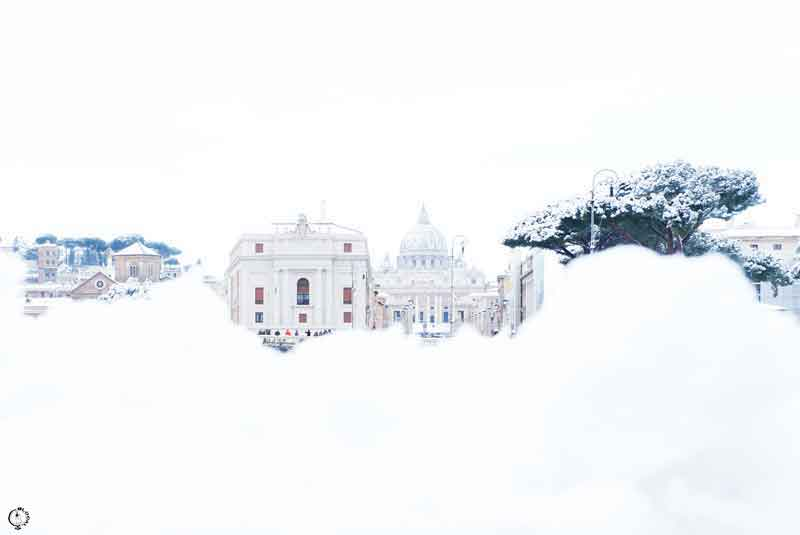 snow in Rome 2018 saint peter