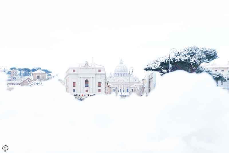 snow in Rome 2018 saint peter