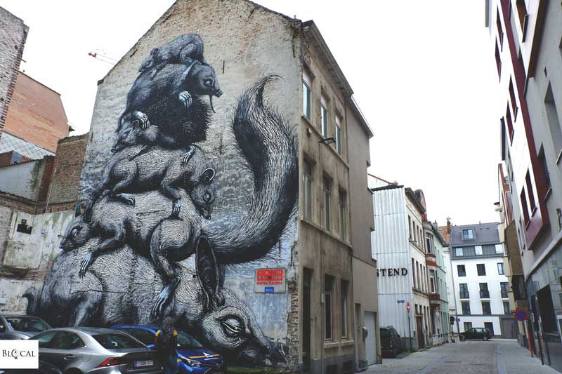 roa street art in ostend belgium