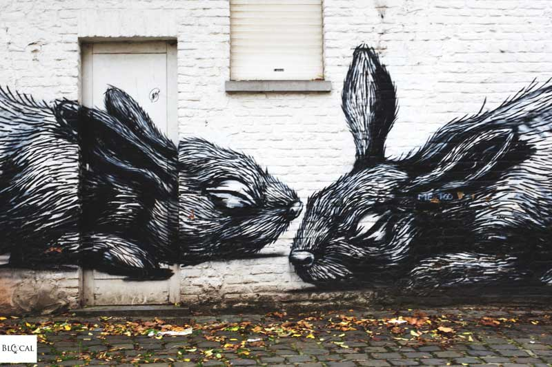 ROA rabbits street art in ghent
