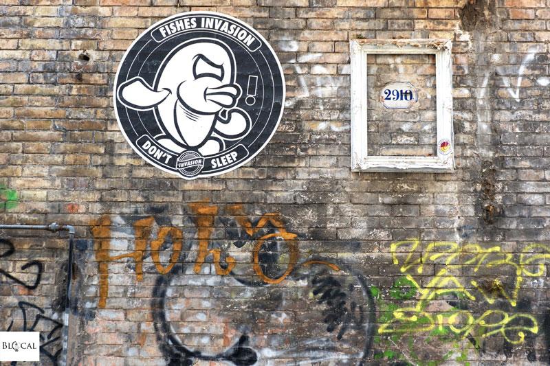 fish invasion poster street art Trastevere Roma