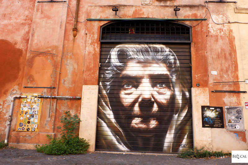 neve street art in Trastevere rome