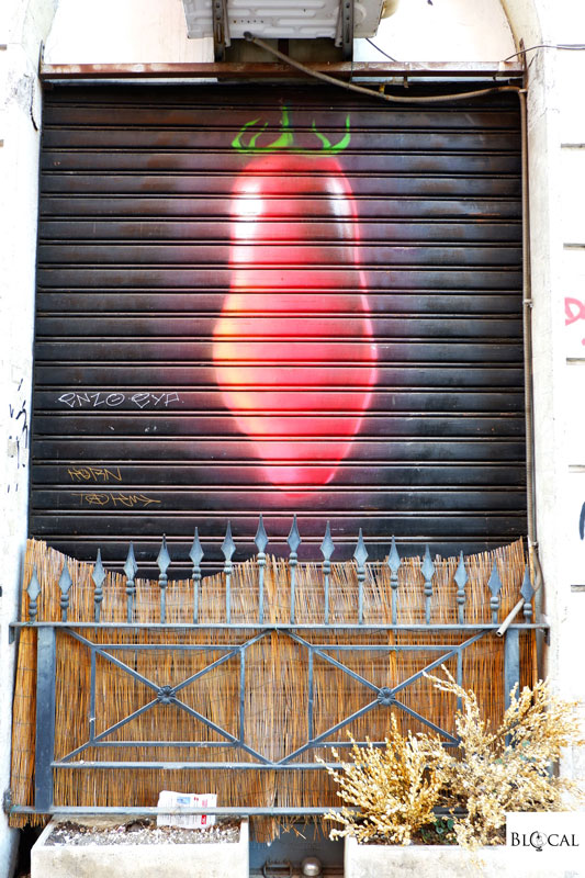 painted shutter in San Lorenzo Rome