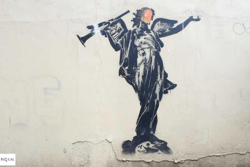 Goin stencil street art in Amsterdam