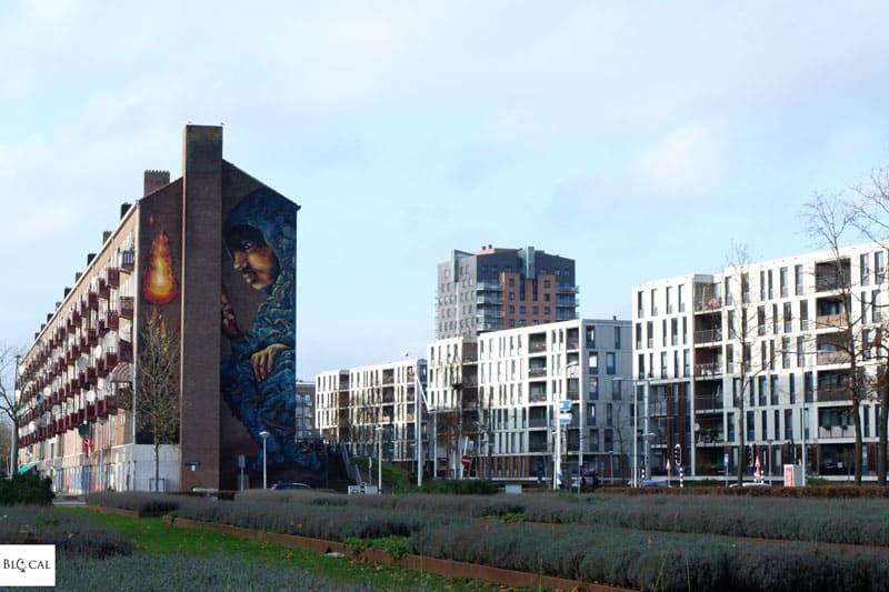 Hier mural Amsterdam Niew-West street art