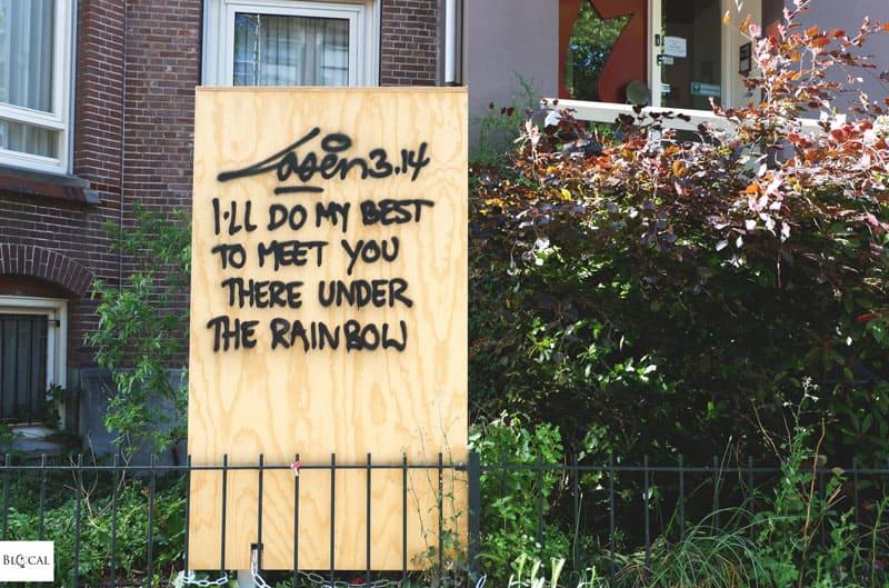 Laser 3.14 street art Amsterdam poems