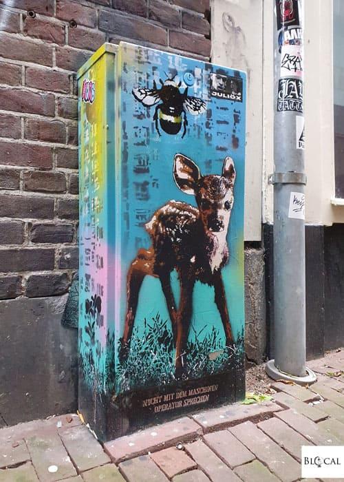 Pipsqueak Was Here stencil art in Amsterdam street