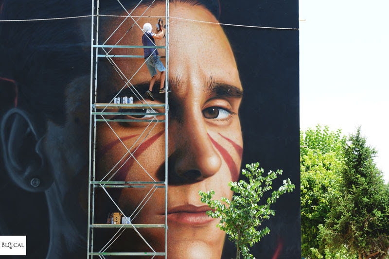Jorit Agoch mural in Rome Trullo