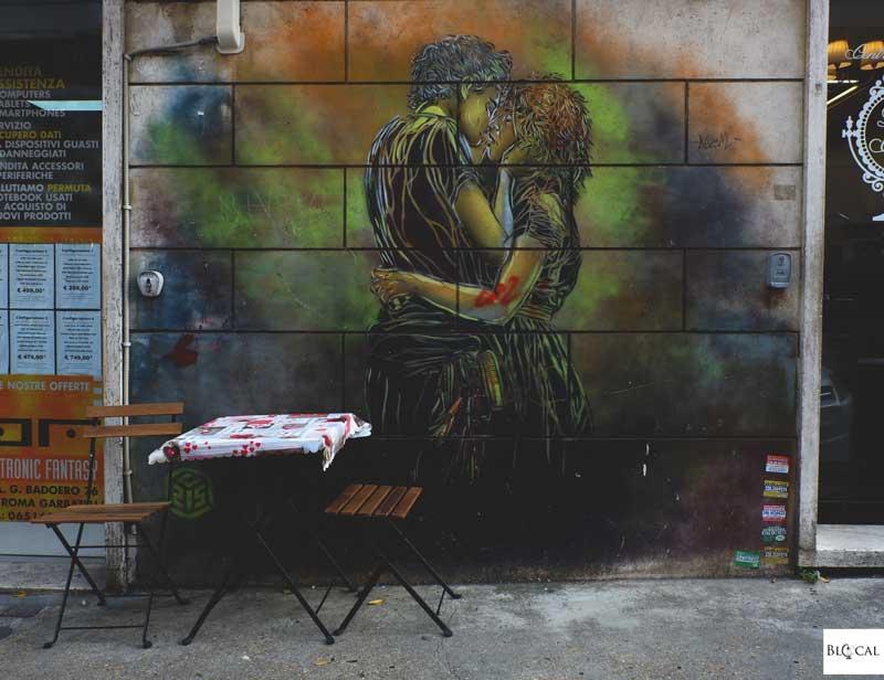 C215 stencil street art in Garbatella neighbourhood Rome