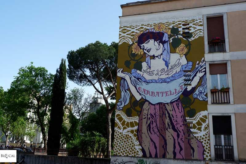 Flavio Solo Diamond mural street art in Garbatella neighbourhood Rome