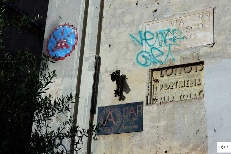 Space Invader street art in Garbatella neighbourhood Rome
