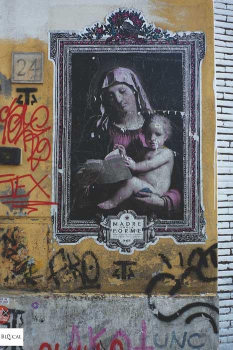 Ex Voto Fecit poster street art in Garbatella neighbourhood Rome