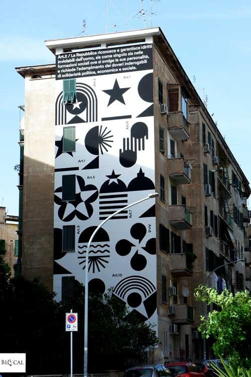 Greg Jager mural costituzione italiana Street Art in Garbatella neighbourhood Rome