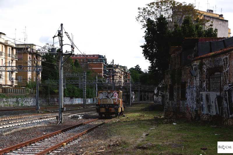 Graffiti train in Garbatella neighbourhood Rome