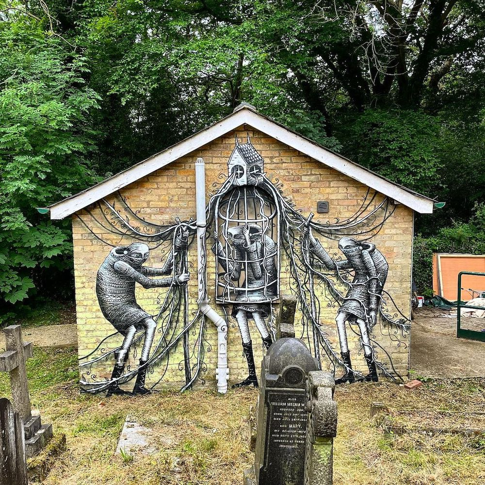 New Mural by Phlegm at St. Peter's in the Forest in London (UK)